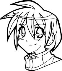Manga Boy Face Coloring Page