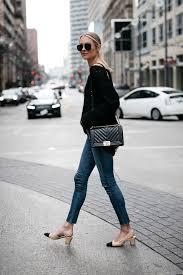 Blonde Woman Wearing Rag And Bone Denim Skinny Jeans Chanel Slingbacks Black Boy Bag Fashion