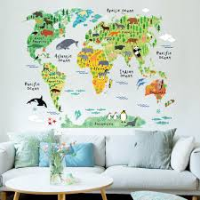 2015 New Cartoon Animal World Map In English Childrens Living Room Education Wall Sticker Kids Bedroom Decoration Kindergarten Decal 6090cm