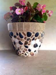 Mosaic Planter Large Stone Flower Pot Rustic Indoor Herb Pots Outdoor Mosaics Kitchen Handmade Deck Container Gift
