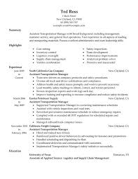 Cover Letter For Transportation Supervisor Position Unforgettable Assistant Manager Resume Examples To Free