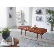 wohnling sitzbank echtleder massivholz bank 115x53x38 cm