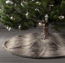 NWT LUXE LG FAUX FUR CHRISTMAS TREE SKIRT RESTORATION HARDWARE 58 Brown WOLF