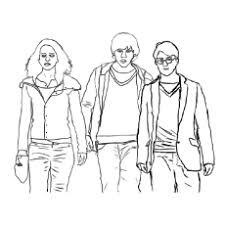 Harry Potter Trio Friends Voldemort Coloring Page