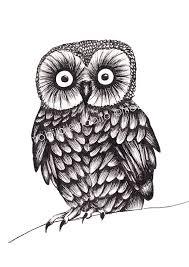 Items similar to Owl ink drawing print of original ink