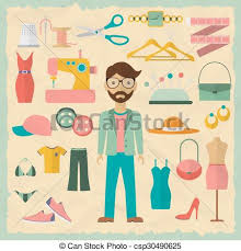 Fashion Designer Male Character Design With Objects Icons Flat