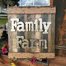 Farmhouse Wall Decor Sign FAMILY FARM Reclaimed Rustic Pallet Wood Log Cabin Style 32quot