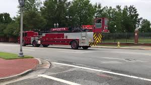 AUGUST FIRE DEPARTMENT TRUCK 1 RESPONDING IN THE DOWNTOWN AREA OF ...