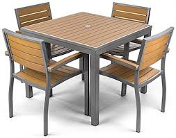 Aluminum Plastic Teak Outdoor Dining Set With Square Table
