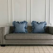 Baby Blue Linen Ruffle Trim Decorative Pillow Cover 24
