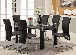 Dining Room Black Table Set With Leaf Chairs And