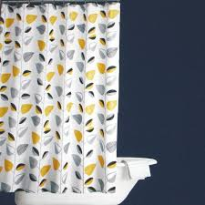 Yellow And White Curtains Canada by Collaboration Of Yellow And Grey Shower Curtain Home Decor