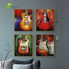 4 Panel Abstract Guitar Canvas Prints Wall Art Oil Painting Music Instrument Decor
