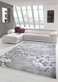 Designer Rug Contemporary Wool Carpet Living Room With Floral Pattern Pink Grey