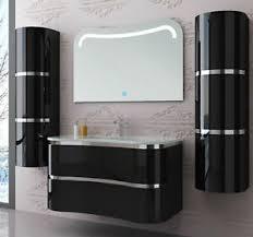 details zu badmöbel set montiert schwarz hochglanz lackiert badezimmermöbel 90 cm 5 tlg led