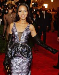 the leather look kerry washington in long leather gloves at the