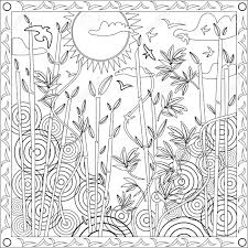 Page Coloring Book For Adults Square Format Japanese Bamboo Design Vector Illustration Sunset Stock