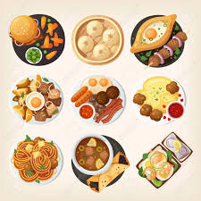national cuisine of dinner table closeup top view on dinner dishes from