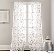 Crushed Voile Curtains Christmas Tree Shop by Leaf Swirl Embroidered Curtain Panel Pair Taupe Brown Size 37