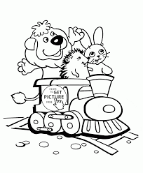 Toy Train With Animals Coloring Page For Toddlers Transportation