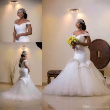 white off shoulder african wedding dresses mermaid beaded