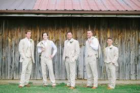 Wedding 13 Groom And Groomsmen Standing In Front Of Wooden Barn Cream Colored Suits At Lindsey