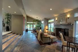 Contemporary Living Room With Slate Tile Floors Sunken On