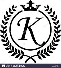 Vintage Letter K Initial Inside Laurel Wreath Symbol Design Stock
