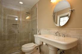 contemporary 3 4 bathroom with pedestal sink high ceiling in