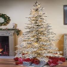 Wyoming Snow Flocked 75 Green Pine Artificial Christmas Tree With 6672 Warm White LED Lights Stand