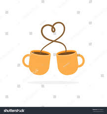 Coffee Cup With Heart Sign Couple Concept Vector Illustration