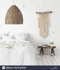 scandi boho style bedroom 3d render stock photo alamy