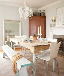large shabby chic dining room with double small chandeliers over