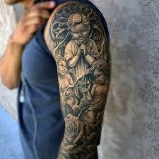 Gentleman With Religious Angels Heaven Tattoo Sleeve