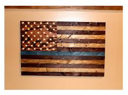 Law Enforcement Support Rustic Wood American Flag 20x30