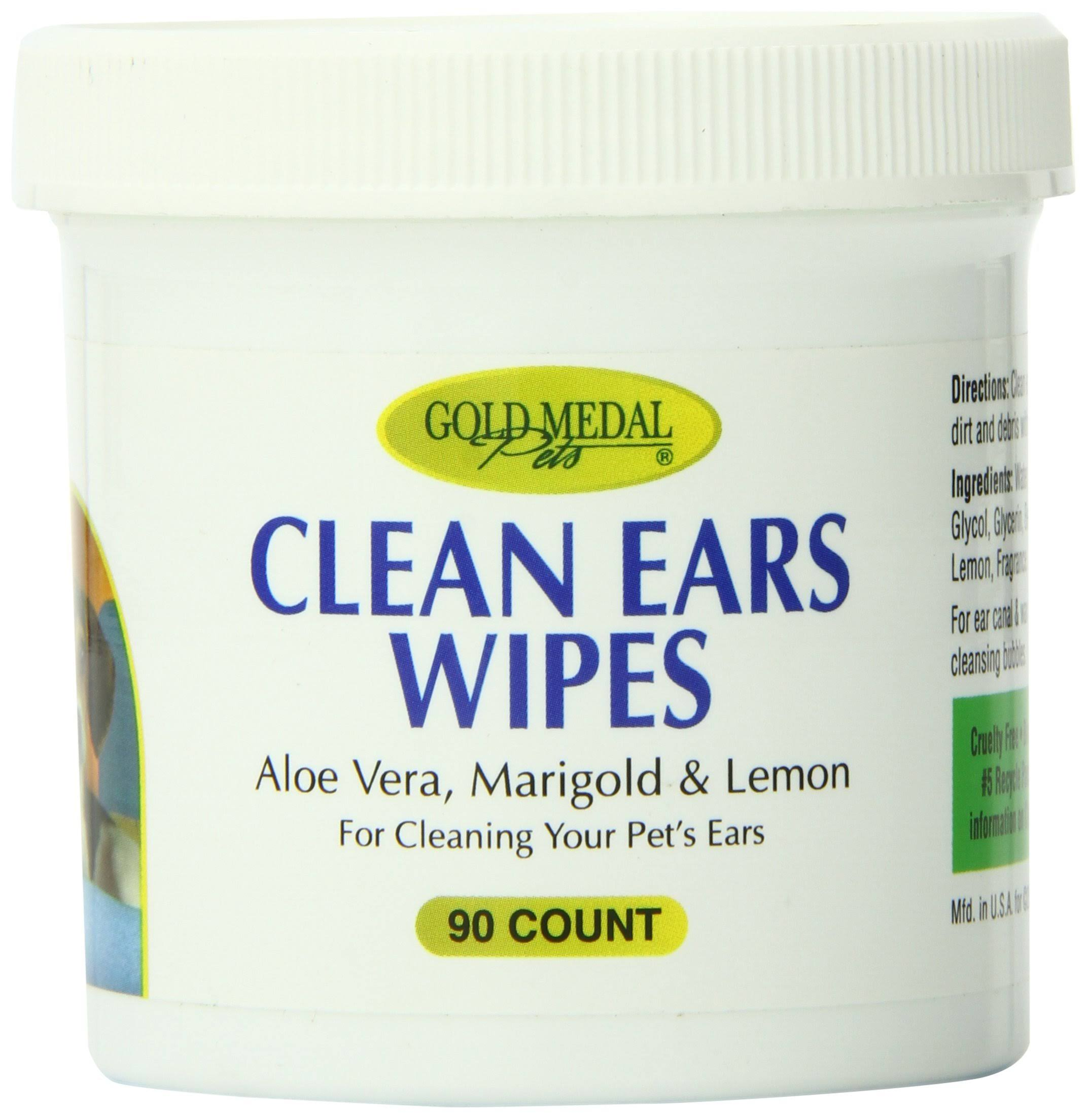 Gold Medal Pets Clean Ears Wipes for Dogs and Cats 90 Count