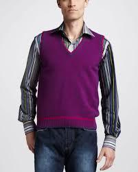 etro wool sweater vest in purple men lyst