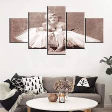 100 Sexy Living Rooms Marilyn Monroe Pictures For Walls American Model Paintings For Room Girl Artwork 5 Piece Canvas Wall Art Modern House Decor Wooden Framed