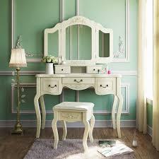 Bedroom Vanity Dresser Set by Tribesigns French Vintage Ivory White Vanity Dressing Table Set