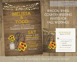 Rustic Sunflower Wedding Invitations Suite Country Western Wagon Wheel Mason Jar Fall Leaves Barn Wood Lights DIY Printable