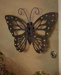 SOLAR BUTTERFLY OUTDOOR WALL DECOR RUSTIC DESIGN LED LIGHTS GARDEN PATIO TBD