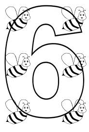 Learn Number 6 With Six Bees Coloring Page