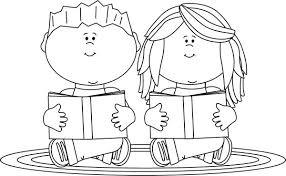 Students Reading Clipart Black And White ClipartXtras