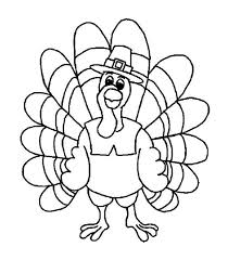 Friendly Thanksgiving Day Turkey With Pilgrim Hat Coloring Page