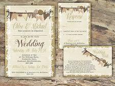 PERSONALISED RUSTIC BURLAP BUNTING LACE WEDDING INVITATIONS PACKS OF 10