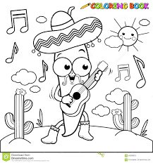 Royalty Free Vector Download Mariachi Chili Pepper Playing The Guitar Coloring Page