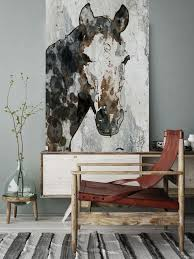 Extra Large Horse Unique Wall Decor Brown Black White Rustic Canvas Art Print Up To 72 By Irena Orlov