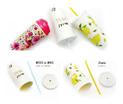 Kate Spade Collection Tumbler Straw Set Miss To Mrs