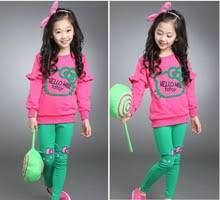 Junior Girls Clothing Sets Candy Color Girl Tracksuit Cartoon Hello Kitty Clothes Baby