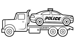 99 Youtube Truck Car Coloring Pages Drawing Police Carrier For Kids YouTube